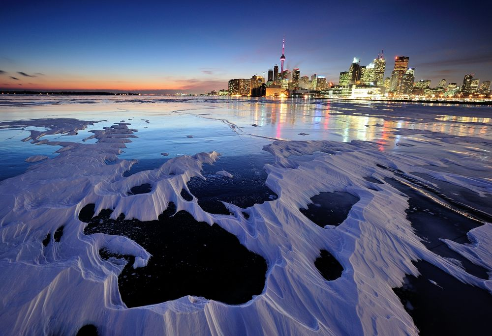 Toronto with snow & ice Photograph by Peter Bowers