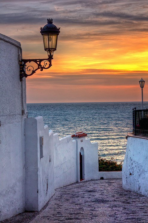 Sunset in Nerja, Malaga, Andalucia, Spain